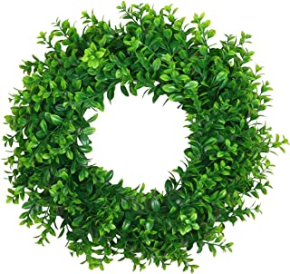 """Pauwer Artificial Green Leaves Wreath 17"""" Decorative Welcome Front Door Wreath Farmhouse Greenery Boxwood Wreath Summer Sp..."""