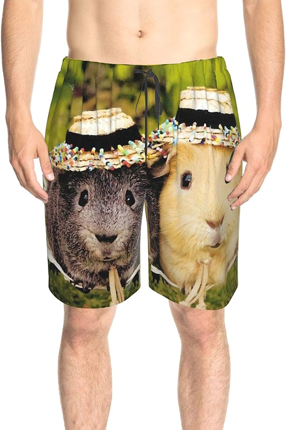 Mens Swim Trunks Guinea Pigs with Hat Swim Board Shorts Quick Dry Comfy Board Shorts Swimwear with Liner