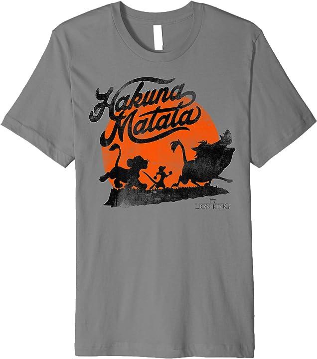 Disney Lion King Hakuna Matata Trio Orange Sunset Silhouette Premium T-Shirt