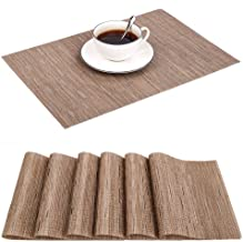 JTW Outdoor PVC Place Mats for Kitchen Table, Washable Table Mats Set of 6, Waterproof Heat Insulation & Stain Resistant, Great for Catering Events, Dinner Parties & Daily Use (6, Beige)