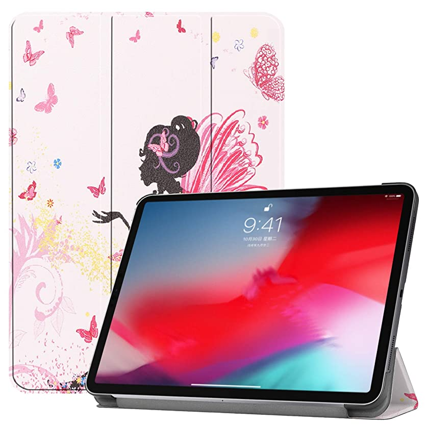 Smart Case for iPad Pro 11 2018 Model Trifold Paint Light Leather Stand Auto Sleep Wake Soft Lining Hard Book Cover Compatible Apple iPad Pro 11 Inch Tablet NO Pencil Holder (Pink Butterfly Girl)