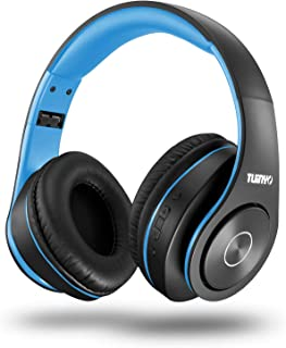 Bluetooth Headphones Wireless,Tuinyo Over Ear Stereo Wireless Headset 35H Playtime with deep bass, Soft Memory-Protein Earmuffs, Built-in Mic Wired Mode PC/Cell Phones/TV-Black/Blue …