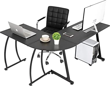 SUPER DEAL L-Shaped Corner Desk Computer Gaming Desk - Modern Home PC Table Office Writing Workstation, Black