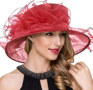 Women Derby Church Dress Wide Brim Ruffles Tea Party Organza Hats S042b