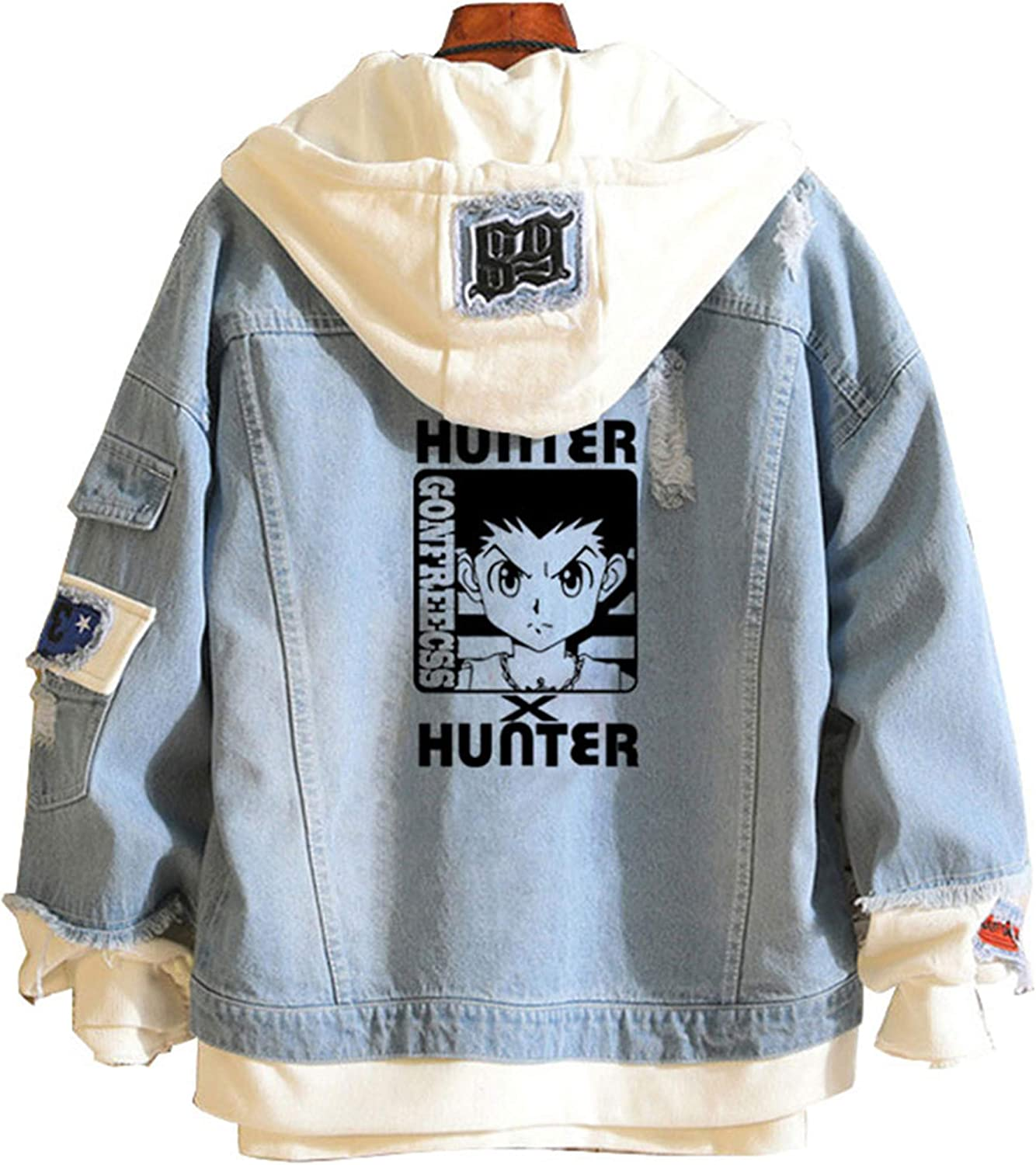 Hunter/×Hunter Killua Zoldyck Denim Jacket Streetwear Hip Hop Mens Hooded Jean Jackets Male Casual Outerwear Cosplay Costumes