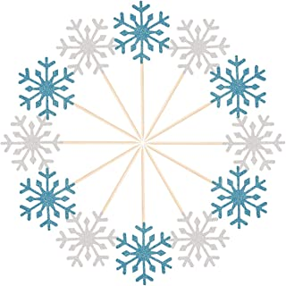 Donoter 60Ct Glitter Christmas Snowflake Cupcake Toppers Party Cake Picks Decoration for Wedding Baby Shower Winter Birthday (Silver and Blue)