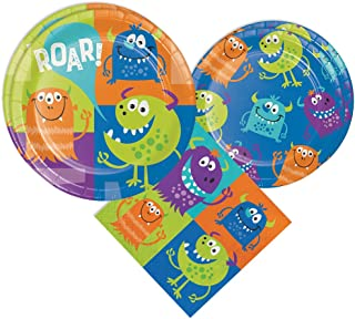 Blue Orchards Monster Party Packs (48 Pieces for 16 Guests, Colorful Party Tableware, Monster Party Supplies