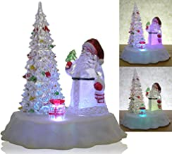 BANBERRY DESIGNS LED Lighted Acrylic Santa Claus Christmas Tree Figurine Holding Lantern Decoration Color Changing Lights