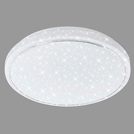 Briloner Leuchten - Plafoniera a LED con decorazione a stelle, anello cromato, 23 W, 2100 Lumen, Ø 38 cm, bianco/cromato