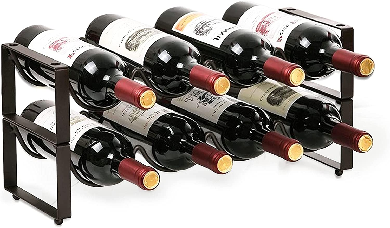 LC&TEAM Estantería para 8 botellas de vino, estantería apilable, de metal, 42,7 x 17 x 10 cm, estable, soporte para botellas ligero, para sótano, gastronomía o almacenamiento