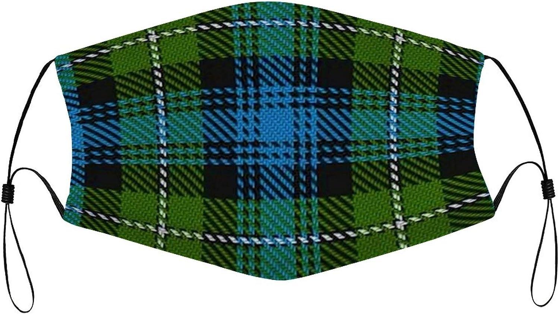 Scottish Clan Mackenzie Tartan Plaid Adult Cloth face mask ?Washable Face Bandanas Balaclava Dust-Proof Print Reusable Fabric Protection with 2 Pcs Filters