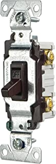 Eaton CSB115STB-SP-L 15-Amp, 120/277-Volt/AC Commercial Specification Grade Single Pole AC Toggle Switch, Brown