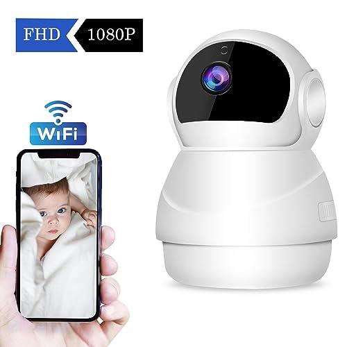 CHORTAU Caméra de Sécurité sans Fil/WiFi IP Caméra Full HD 1080P, Caméra de Surveillance avec Fonction Panoramique/Inclinaison/Zoom, Vision Nocturne, Détection de Mouvement/Son, Notification d'Alerte
