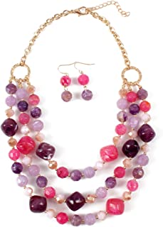 Newest Multi Layer Chain Colored Resin Statement Women Collar Necklace