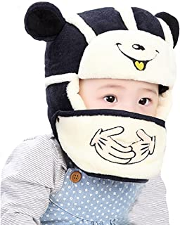 Winter Wool Knitted Crochet Cap and Detachable Face Mouth Mask Set for Infant Baby