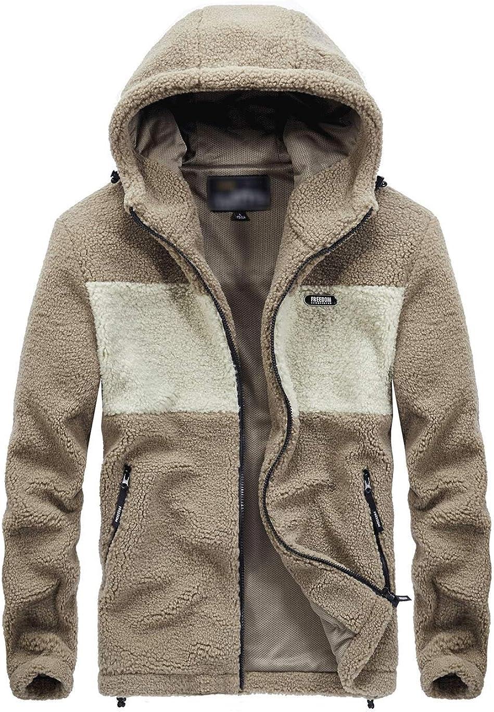 Haellun Men's Winter Warm Safety and trust Los Angeles Mall Soft Fuzzy Fleece F Hooded Faux Jacket