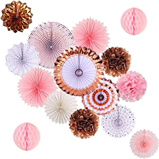 Rose Gold Party Decorations, Pink Rose Gold Paper Fans and Pom Poms Flowers for Birthday Party Bridal Shower Bachelorette ...