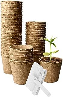 OAMCEG 60 Pack Peat Pots 3 x 3 Inch, Seed Starter Pots/Plant Starters, Seed Germination Kit - Organic Biodegradable Pots 100% Eco-Friendly Enhance Aeration, Bonus 60 Plastic Plant Markers