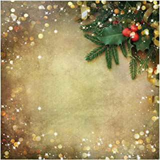 Haoyiyi 8x8ft Christmas Backdrop Small Champagne Snowflakes Green Twigs Balls Bokeh Sparkle Sequins Red Berries Background Photography Children Photo Booth Banner Wallpaper Activity