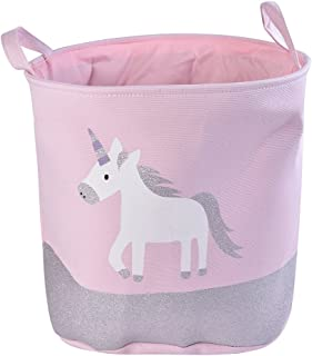 Didihou Laundry Basket, Cotton & Linen Cute Pink Horse Print Waterproof Collapsible Laundry Hamper Round Canvas Nursery Toy Storage Basket for Girls Bedroom