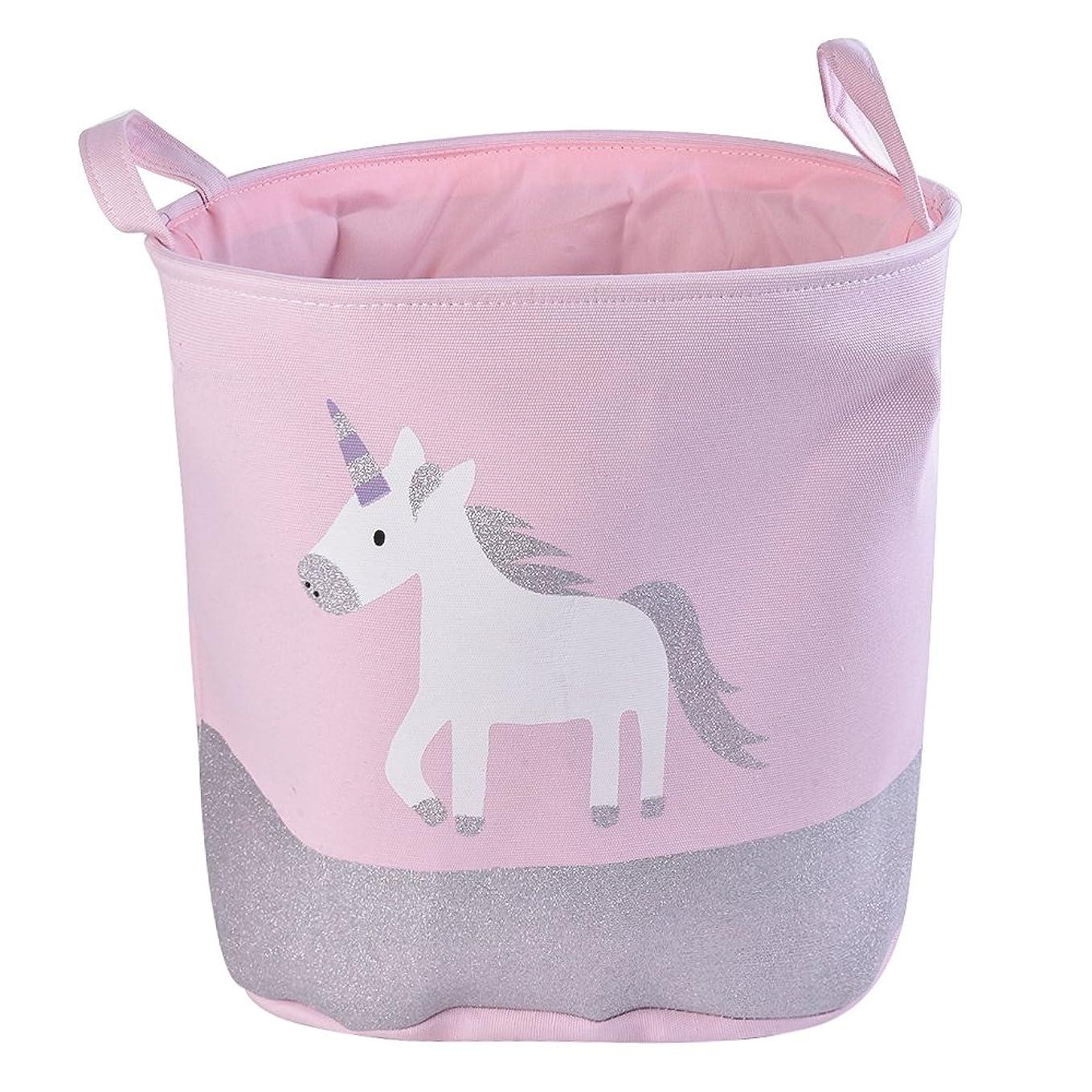 "Urijk Unicorn Toy Storage Basket, Baby Hamper Kid Girl Laundry Basket Nursery Hamper, Waterproof Cute Cartoon Round Canvas Foldable Toy Organizer for Office Bedroom Dorm, Dia 13"" x 16""H gs5525432224156"