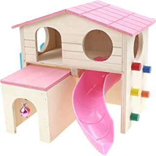 Alfie Pet - Alvin Wood Hut for Small Animals Like Dwarf Hamster and Mouse - Color: Pink