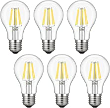 Dimmable Edison LED Bulb, Daylight White 4000K, Kohree 6W Vintage LED Filament Light Bulb, 60W Equivalent, A19 E26 Base Lamp for Restaurant,Home,Reading Room, 6 Packs Daylight White