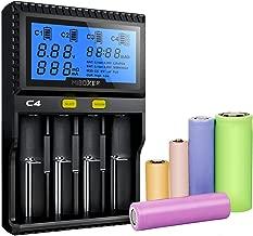 18650 Battery Charger,MiBOXER 4 Bay LCD Display Universal Smart Battery Charger for Rechargeable Batteries NiMH NiCd Li ion LiFePO4 IMR 12440 14500 16340 18650 RCR123 26650 AAA AA Battery Charger
