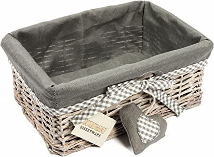 Woodluv Grey Wicker Storage Gift Hamper Shelf Basket With Lining, Medium
