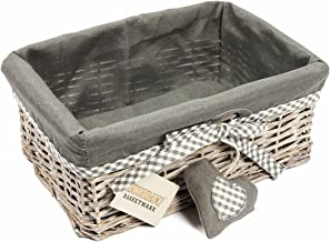 Woodluv Grey Wicker Storage Gift Hamper Shelf Basket with Lining, Medium