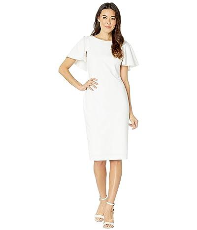 Calvin Klein Flutter Sleeve Sheath Dress (White) Women