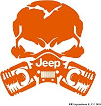 UR Impressions IOrn Jp Piston Gas Mask Skull Decal Vinyl Sticker Graphics for Jeep 4x4 Grand Cherokee Wrangler Renegade SUV Wall Window Laptop|Intense Orange|5.5 Inch|URI028-IO