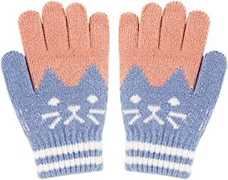 TM Kids Baby Cute Cartoon Winter Keep Warm Knitted Fingerless Mittens Convertible Flip Top Gloves for 4-7 Years Old Boys Girls Little Kids Winter Warm Christmas Gloves,Colorful