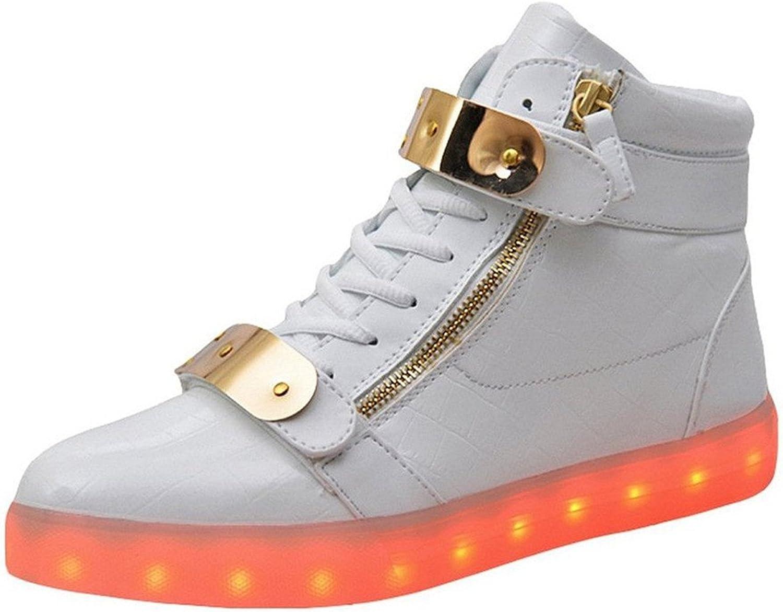 Pilusooou Fashion Women Men High Top USB Charging LED shoes Flashing Sneakers