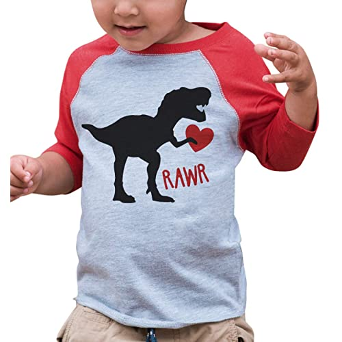 c98367d1 7 ate 9 Apparel Kids Dinosaur Happy Valentine's Day Red Raglan