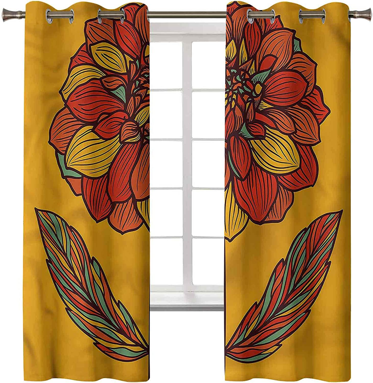 Flower Minneapolis Mall Blackout Indianapolis Mall Curtains for Bedroom Set 42W Panels of 63L x 2