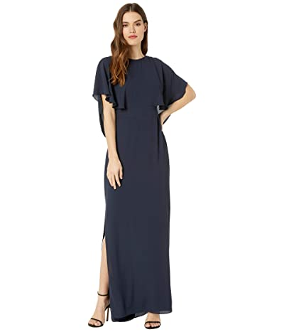Halston Drape Back Gown (Dark Navy) Women