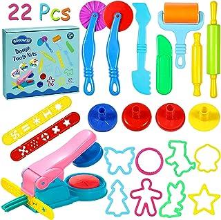 aovowog Herramientas de Plastilina 22 Piezas Extrusora de Accesorios de Plastilina Cortadores de Galletas Juguete de Arcilla para Niños Bebé (Color al Azar)