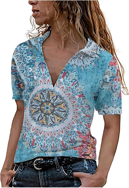 Women's V Neck Trendy Pullover Short Sleeve Floral Print Tops Tops Printing Lapel Collar Shirt Causal Summer Blouses