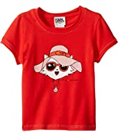 Karl Lagerfeld Kids - Short Sleeve Tee w/ Choupette Print & Gold Lurex Stitch (Toddler)