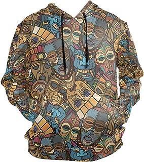 Mens Autumn Drawstring Hoodies African Craft Voodoo Tribal Mask Hooded Pullover Sweatshirt