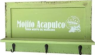 quantio Armoire à clés rétro en Bois - Armoire avec 3 Crochets - avec dépôt pour téléphone Portable - Couleur: Vert