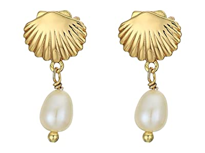 gorjana Seashell Charm Earrings (Freshwater Pearl) Earring