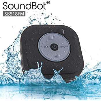 SoundBot SB518FM FM RADIO Water Resistant Bluetooth Wireless Shower Speaker Hands-Free Portable Speakerphone w/ Smart One Touch Auto-Scan, 6Hrs Music Streaming, Built-in Mic, Detachable Suction Cup