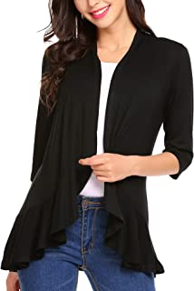 Women's Open Front Cardigan 3/4 Sleeve Draped Ruffles...