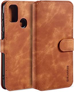 Leather Case for Samsung Galaxy M30S/M21, PU Leather Case Vintage Wallet Flip Cover TPU Inner Shell [Card Slots] [Magnetic...