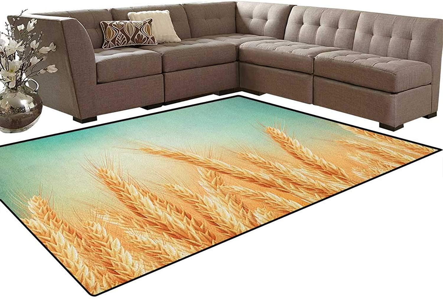Wheat Field and bluee Sky Agriculture Themed Abstract Composition Floor Mat Rug Indoor Front Door Kitchen and Living Room Bedroom Mats Rubber Non Slip