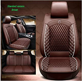 OUTOS Luxury Leather Auto Car Seat Covers 5 Seats Full Set Universal Fit HT15 (Brown)