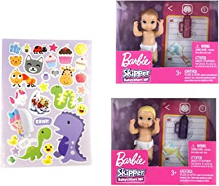 Set of 2 Skipper Dolls Accessories for Barbie Babysitter Inc Story Pack Including Diaper Blanket Baby Bottle Role Play wit...