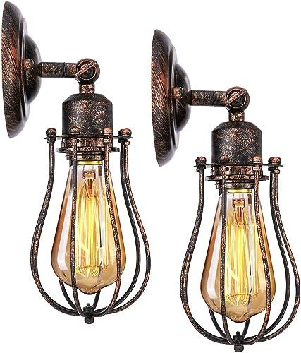 KINGSO 2 Pack Applique Murale Industrielle E27 Abat-jour Cage Lampe Suspension Plafonnier Vintage Luminaire Bougeoir ...